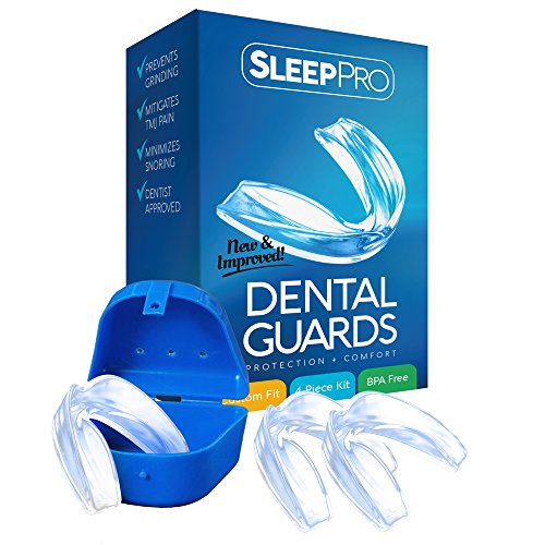 Mouth Guard for Grinding Teeth and Clenching - Night Guards to Prevent TMJ and Bruxism - Professional Dental Guards for Mouth and Jaw Pain - 3 Custom Fit Teeth Guards + Antibacterial Case