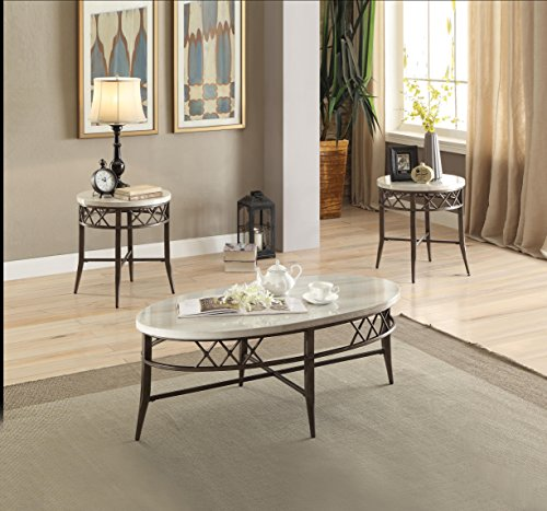 ACME Aldric 3Pc Pack Coffee/End Table Set - 83100 - Faux Marble