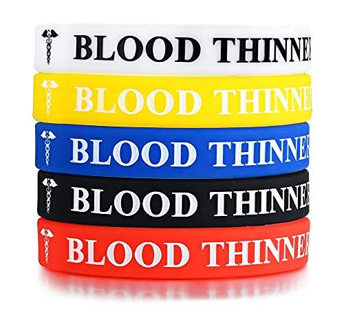 AMOZ 5 pulseras de silicona tipo 1 de goma de silicona para identificación de diabetes, 5 colores, B: diluyente de sangre