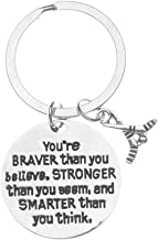 Ice Hockey Charm Keychain, Inspirational You're Braver Than You Believe, Stronger Than You Seem & Smarter You Think Jewelry, Hockey Gifts for Hockey Players