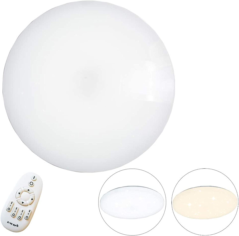 LeMeiZhiJia 48W LED Rund Stern-Effekt Deckenlampe Sternelicht Deckenleuchte Dimmbar für Schlafzimmer Wohnzimmer Küche Büro Flur (Rund-Dimmbar, 48W-Φ50075mm)