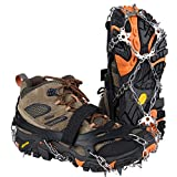 Uelfbaby Crampons Upgraded 19 Spikes Ice Snow Grips Traction Cleats System Safe Protect for Walking, Jogging, or Hiking on Snow and Ice (Fit S/M/L/XL/XXL Shoes/Boots) (Carbon Black, Large)