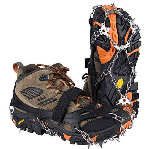 Uelfbaby Crampons Upgraded 19 Spikes Ice Snow Grips Traction Cleats System Safe Protect for Walking, Jogging, or Hiking on Snow and Ice (Fit S/M/L/XL/XXL Shoes/Boots) (Carbon Black, X-Large)