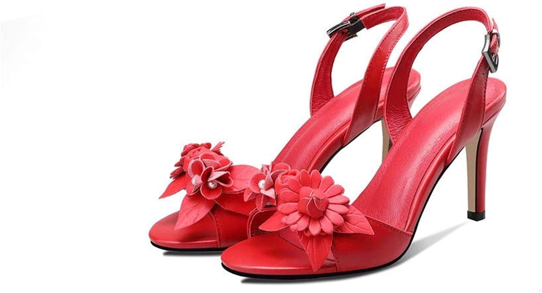 GAO-GEN1 Black red White Summer Ladies Wedding shoes Buckle Elegant Women Genuine Leather high Heels Sandals