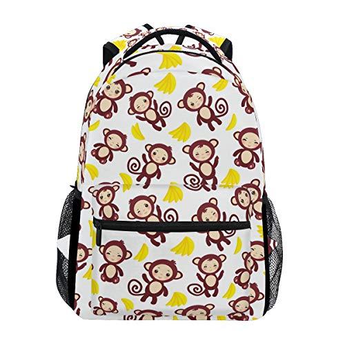 WIHVE School Backpack Funny Brown Monkey Yellow Bananas Bookbag Outdoor Daypack