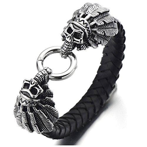 COOLSTEELANDBEYOND Edelstahl Indian Schädel Armband Herren Armband Schwarz Lederarmband Geflochtenem Leder Armreif