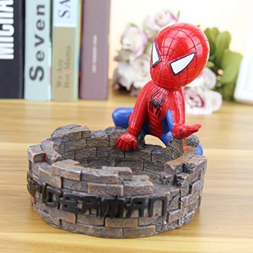 Dhl El 13x14x14cm Vengadores Spiderman Cenicero Animado Modelo de la decoración del Regalo del Recuerdo (Color : Brown)