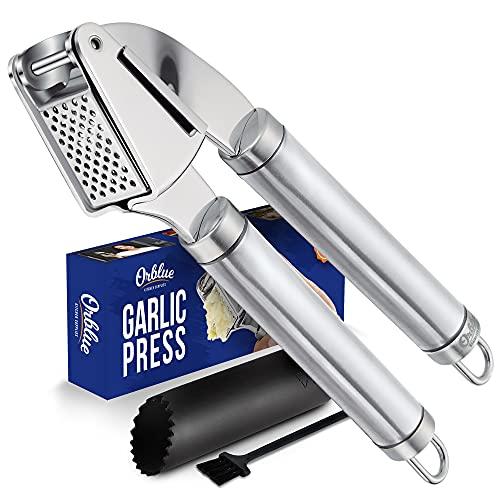 ORBLUE Garlic Press [Premium], Stainless Steel Mincer, Crusher & Peeler Set – Professional Grade, Easy Clean, Dishwasher Safe & Rust-proof