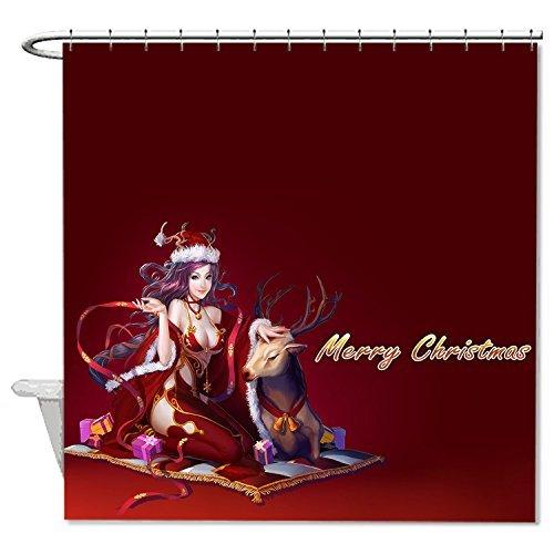 rioengnakg Schimmelresistent Stoff Frohe Weihnachten rot Polyester Duschvorhang wasserdicht, Polyester, #1, 72