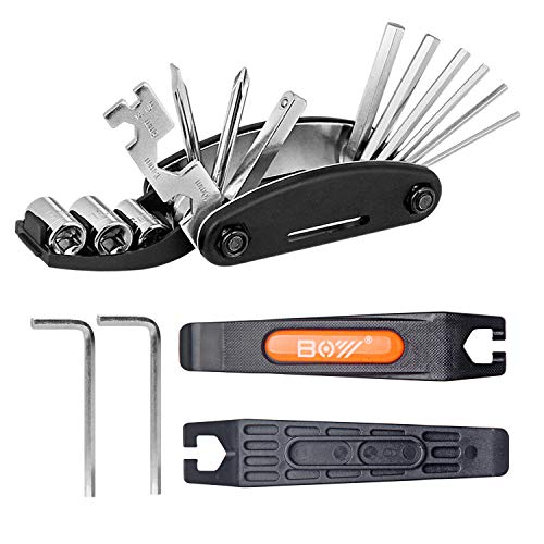 QKURT Set di Kit di Riparazione Meccanico per Biciclette (Leva per Pneumatici per Bici, Chiavi a brugola, Kit Chiave Multifunzione 16 in 1) Kit di Attrezzi per la Riparazione della Bici Essenziale