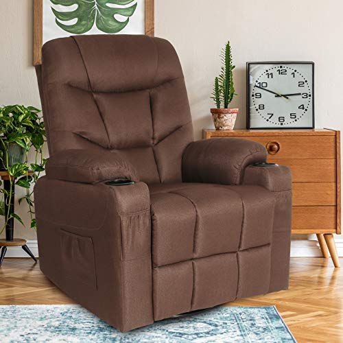 Fabric Massage Recliner Chair Ergonomic Lounge Chairs,360° Swivel Armchair with Heated Vibration,Side Pockets,Cup Holders,Remote Control,Soft Reclining Sofa for Living Room,Home Theater Seating,Coffee