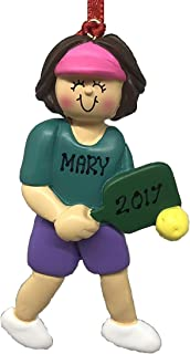 Personalized Pickle Ball Female Brown Christmas Ornament 2019