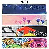 ZER 4 PCs/Set Unisex Colorful Printed Athletic Tennis Basketball Wide Hair Band Yoga,Set 1