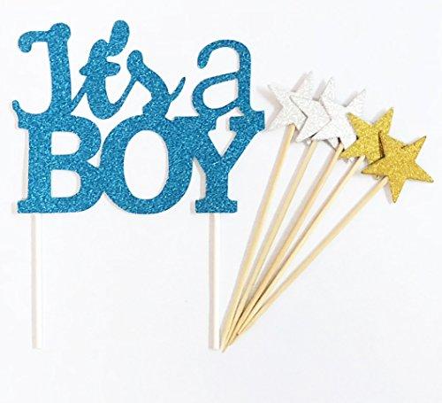 Handgemachte 6 Zählt Glitter Baby Dusche Kuchen Dekorieren Topper - IT'S A BOY Blau Set