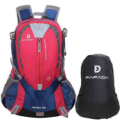 Fafada 40L 35L 25L Wanderrucksack Herren Damen Wasserdicht Trekking Rucksack mit Regenschutz Schwarz (25L Rot)