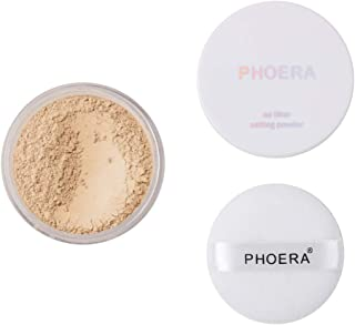 PHOERA Setting Powder Control Oil Brighten Skin Color Cover Blemish Whitening Face Setting Loose Powder, Great Choice and Gift for Grils. (02#Cool Beige)