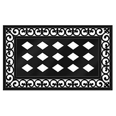 "Evergreen Flag Black Fleur-de-lis Decorative Rubber and Polyester Sassafras Mat Tray - Door Mat Sold Separately - 30""W x 18  H"