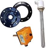 4,5kW Elektroheizstabset - 3 x 230V (bis 500 Liter) - 4,5kW Heizelement, Thermoregler, Flanschdeckel und Dichtung