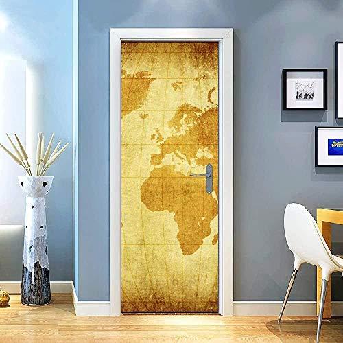 LuSeven porta poster Giallo retrò mappa del mondo 85x215cm Camera da Letto Soggiorno Moderno Removibili Staccabile Pannelli Auto-Adesivo DIY Adesivi Murali Decorazione Murale