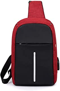 DIEBELLAU Chest Bag Unisex Messenger Bag Canvas Shoulder Chest Bag Casual Pockets (Color : Red)