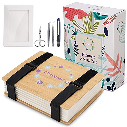 XYZ Flower Press Kit Wooden Art Flower Pressing Kit for Drying & Preserving Foliage -Plant Press Book Includes Press Plates,Straps & Accessories for Multi-Layer Pressing - Color Retention Drying Kit