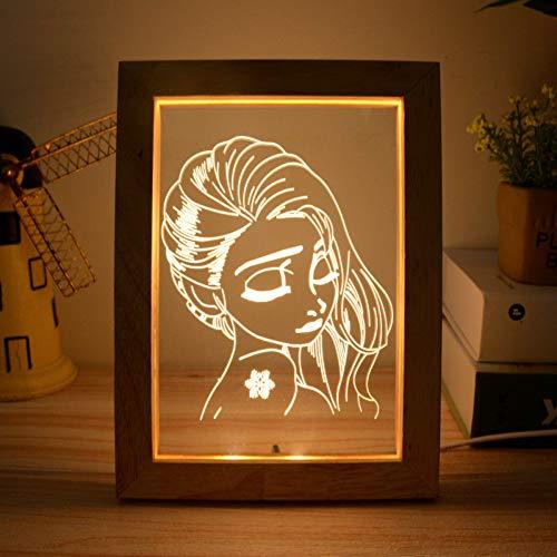 YCEOT 3D Visual houten fotolijst licht 3W warm licht nachtlamp USB-atmosfeer nachtlicht beuken of eiken willekeurig