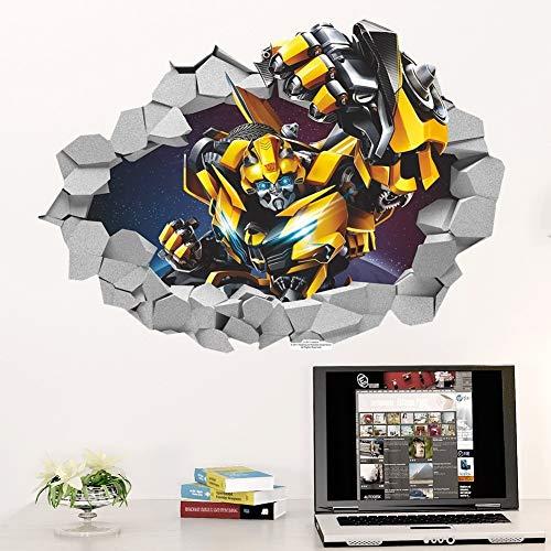 LCFF Wandtattoo 3D Wandaufkleber Wandbilder Bumblebee Transformers Tattoo Tapeten Dekorative Malerei Film-Plakat Removable Self Adhesive Kind-Raum-Wand-Dekor 70x50cm