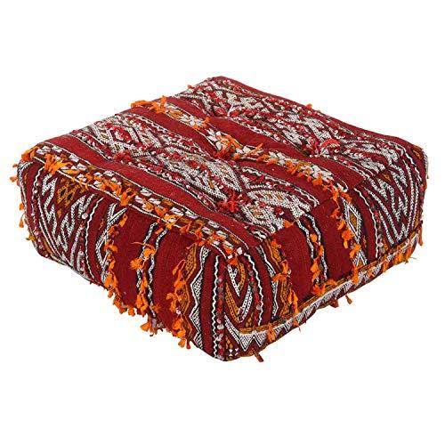 Casa Moro Marokkanischer Sitz-Pouf orientalisches Sitzkissen Kelim handgeknüpft & naturgefärbt | Inklusive Füllung B 50 x L 50 x H 22 cm | Kunsthandwerk aus Marrakesch | MO4250