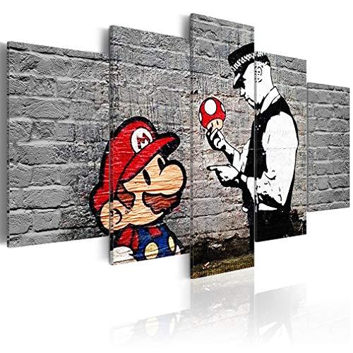 decomonkey Bilder Mario Banksy 200x100 cm 5 Teilig Leinwandbilder Bild auf Leinwand Wandbild Kunstdruck Wanddeko Wand Wohnzimmer Wanddekoration Deko Street Art Ziegel