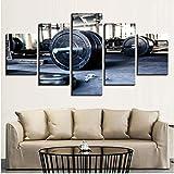 FCXBQ 3D leinwand malerei Leinwand Gemälde Wandkunst Wohnkultur Wohnzimmer 5 Stücke Gewichtheben...