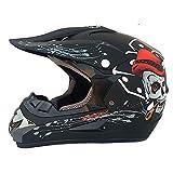 LWAJ Casco de motocross, casco de motocicleta, casco de motocicleta, guantes de gafas para motocicleta, todoterreno, 4 piezas, estándar de calidad DOT/ECE (52-59 cm)