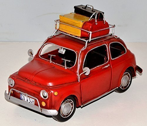 Fiat 500 Auto Oldtimer rot um 1960 Blech Blechauto Blechmodell Tin Model Vintage Car 24 cm 37887