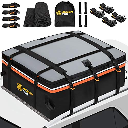 Accentor Car Roof Bag Cargo Carrier, 15 Cubic Feet, Waterproof Cargo Carriers, Car Roof Cargo Carrier with Racks or Without car roof Racks Include Protective Mat, Straps, Storage Bag and Car Door Hook