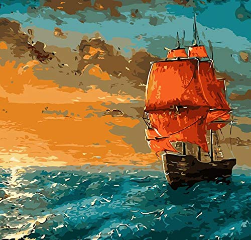 FGHJSF Pintar por Numeros Velero Naranja Lienzo Pintura al óleo para Adultos y Niños DIY Pintura al Óleo por Números Decoración del Hogar - 40 x 50 cm (Sin Marco)