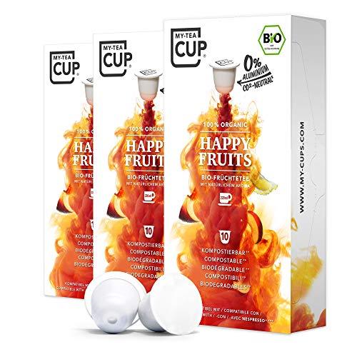 My Tea Cup - TEEKAPSELN HAPPY FRUITS 3 x 10 KAPSELN I BIO-FRÜCHTETEE I 30 Kapseln für Nespresso®³-Kapselmaschinen I 100% industriell kompostierbare & nachhaltige Teekapseln – 0% Aluminium