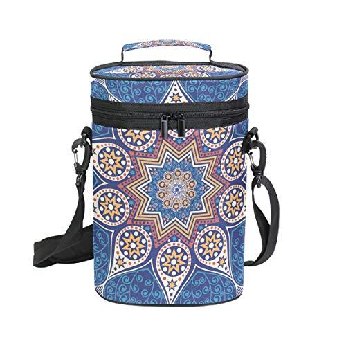 EZIOLY Hippie Henna Mandala - Bolsa térmica para 2 botellas de vino con asa y correa para el hombro