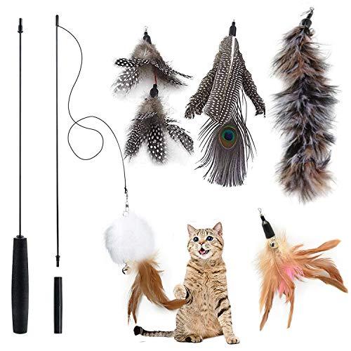 MAIYADUO Katzenspielzeug Feder Natürlich Intelligenz Interaktives Spielzeug Katze Glocke(5 Feder Nachfüllungen Inbegriffen)