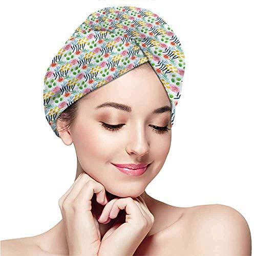 Xarchy Trockenes Haar Handtuch, schnell trocknende Haarkappe, Lange Haare Wickeln, Floral, Modern Brushstroke Art
