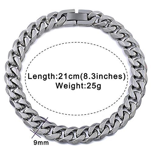 19 mm largeur Hommes Garçon Argent Acier Inoxydable Large Wide Curb Chain Bracelet Bangle