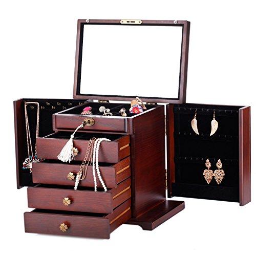 Schmuckkasten Schmuckkoffer aus Holz mit Spiegel (Braun)