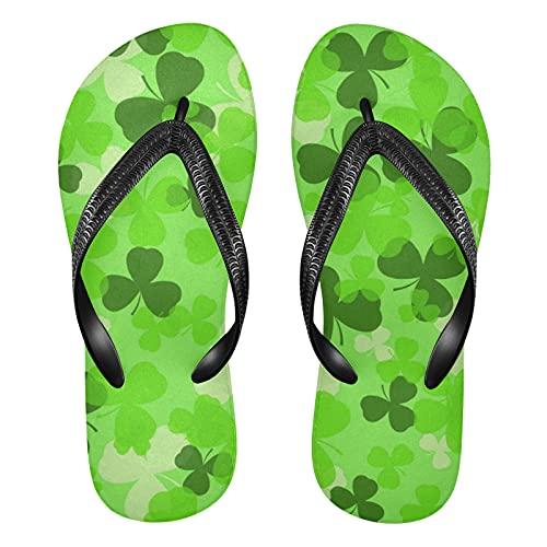 Linomo Chanclas de dedo para hombre y mujer, para el día de San Patricio, con hojas verdes, estilo informal, para el verano, para la playa, color Multicolor, talla 38/39 EU