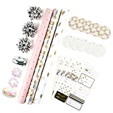 MAYPLUSSWrappingPaperSet-MiniRollwithBow&Ribbon&GiftTags& Stickers-17.3inchX120inchPerroll-Pink andGray Floral Design(43.2sq.ft.TTL)