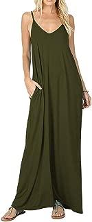 Womens Casual Strappy V Neck Sleeveless Flowy Pockets Loose Long Maxi Beach Dress Sundress