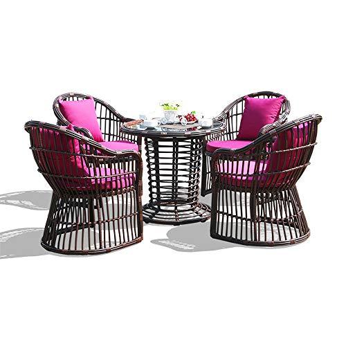 ZHFC Gartenmöbel Esstisch und Stuhl aus Korbgeflecht (5er-Set), Tischplatte aus gehärtetem Glas, waschbares Kissen, geeignet für Terrasse, Garten, Veranda, Garten, Gartenmöbel am Pool