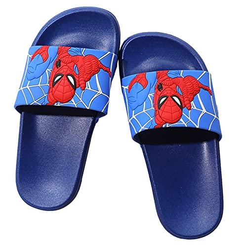 MYYLY Spiderman Chanclas Chico Avenger Plantilla Niño Superhéroe Zapatillas Playa Sandalias Casuales Hogar Baño Sandalias Antideslizantes,Blue- 220~Internal Length 21.5CM
