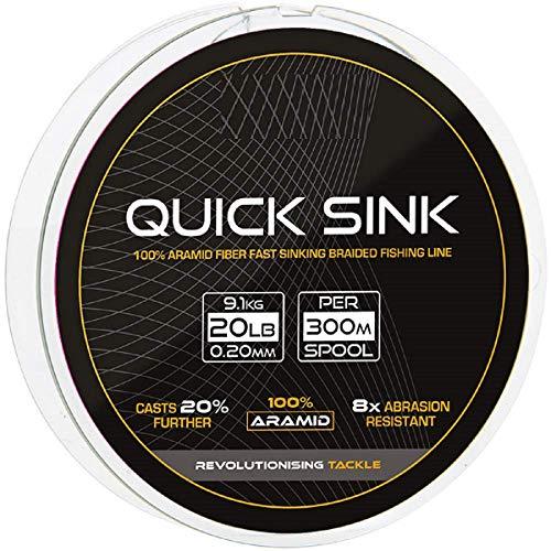 g8ds® Quick Sink Geflechtschnur 0,20mm/9,1kg/300m sinkend Abriebfest stark Angeln Karpfen Hecht Feeder Futterkorb