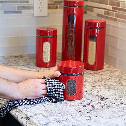 Anchor Hocking Palladian Window Cylinder Jars, Mixed Sizes, Cherry, Set of 4