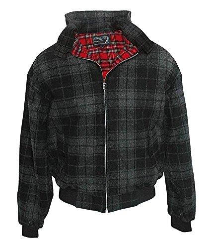 Knightsbridge Harrington Winter Jacke Winterjacke Schwarz oder Grau Cunningham Verschiedene Größen Hüftjacke im Retro-Stil (L, Schwarz-Grau)