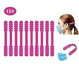 TBOC Cinghia di Prolunga per Maschera - [Pack 10 Unità] Estensione Antiscivole [Fucsia] Ganci in Silicone Supporto Regolabili Allungabili per Prevenzione Mal Testa Salva Orecchie