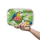 Linomo - Estuche multifunción con diseño tropical de papagayo, flores, hojas con cremallera, piel, para lápices, cosméticos, para niñas, adolescentes, niños